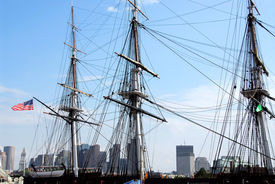 stock photo of uss constitution  - masts of uss constitution with boston skyline in the background - JPG