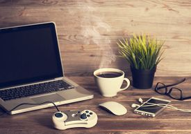 pic of controller  - Wooden office workplace - JPG