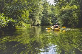 picture of kayak  - Kayaking on the Rospuda river in Poland - JPG