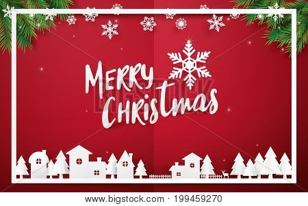 poster of Merry Christmas and Happy new year. Merry Christmas lettering with Christmas trees on red background. Paper art and origami style design
