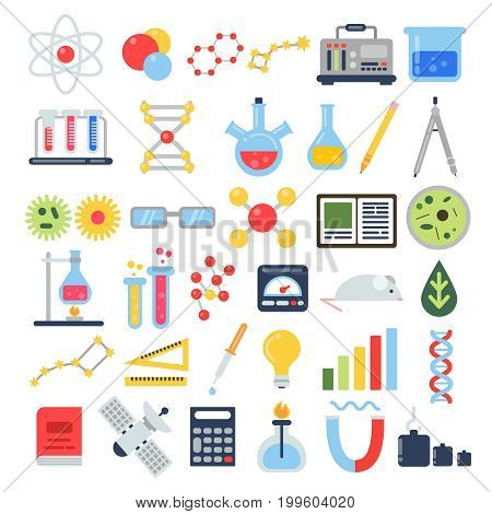poster of Scientific equipment for chemical testing. Science vector icon set. Chemistry science, scientific equipment and chemical tube illustration