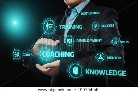 poster of Coaching Mentoring Education Business Training Development E-learning Concept.