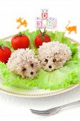 Children's Food - Two Rice Hedgehogs With Tomatoes