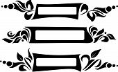 set of asymmetrical frames for text