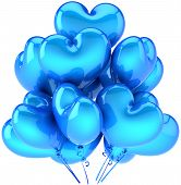 Party balloons heart shaped cyan blue