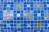 picture of pearlescent  - Fragment of colorful mosaics with small square tiles on the toroidal surface - JPG