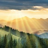 Mountains At Sunset poster