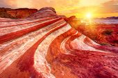 Amazing colors and shape of the Fire Wave rock in Valley of Fire State Park, Nevada, USA poster