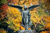 Angel of water in Bethesda Terrace in Autumn in Central Park New York City poster