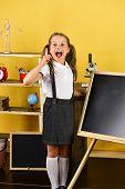 Girl In Classroom Stands Near Blackboard, Copy Space poster