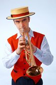 A Man Playing On Trumpet