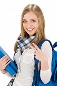 Gesture Two Student Teenager Woman With Shoolbag
