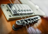 Rock guitar. Close-up view part of guitar, very popular musical instrument of the world. poster