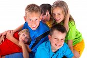 Group Of Happy Kids Over White