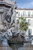 Fountain In Center Of Marseille