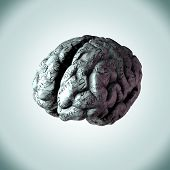 Human brain with emotion words wrapped around it