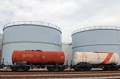 train wagons and oil storage tanks