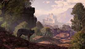 picture of fantasy landscape  - A wolf coming out of the woods with a gothic castle off in the distance and in the foreground part of a castle with lake and rowboat - JPG