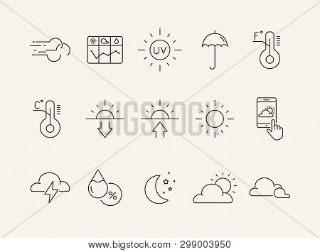 poster of Forecast Line Icon Set. Sun, Cloud, Temperature. Climate Concept. Can Be Used For Topics Like Enviro
