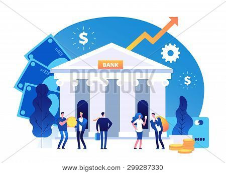 poster of Bank Building. Banking Investment Wealth Growth Symbols. Bank Facade With Businessman Vector Cartoon