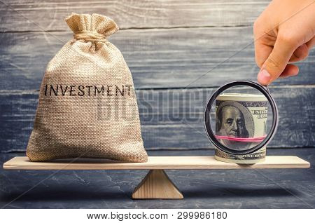poster of Money Bag With The Word Investments And Dollars On Scales. Attraction Of Financial Resources For Inv