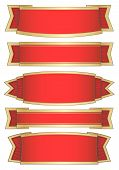 set of 5 red banners