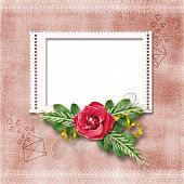 Framework For A Photo Or Congratulation With Red Rose Bouquet.