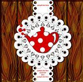 menu card with red polka teapot
