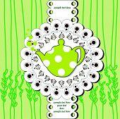menu card with green polka teapot