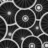 Bicycle Background From Many White Wheels Vector