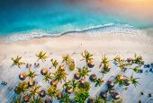 Aerial View Of Umbrellas, Palms On The Sandy Beach Of Indian Ocean At Sunset. Summer Holiday In Zanz poster