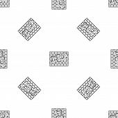 Rap Bricks Wall Pattern Seamless Vector Repeat Geometric For Any Web Design poster