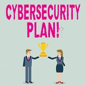 Word Writing Text Cybersecurity Plan. Business Concept For Techniques Of Protecting Computer And Sys poster