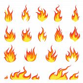 Cartoon Fire Flame. Fires Image, Hot Flaming Ignition, Flammable Blaze Heat Explosion Danger Flames  poster