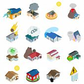 Dangerous Environment Icons Set. Isometric Set Of 16 Dangerous Environment Vector Icons For Web Isol poster
