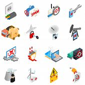 Hacking Electricity Icons Set. Isometric Set Of 16 Hacking Electricity Vector Icons For Web Isolated poster