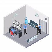 Security Room In Airport, Railway Or Bus Station Isometric Vector Concept. Illustration Of Security  poster