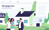 Mortgage Loan. People Borrower Buy Home Property With Bank Credit. Young Couple With Broker, Private poster