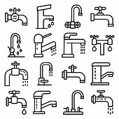 Faucet Icons Set. Outline Set Of Faucet Vector Icons For Web Design Isolated On White Background poster