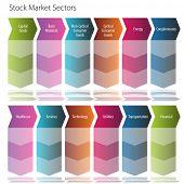 Una imagen de un diagrama de flujo de flecha de sector de mercado de valores.