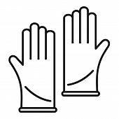Forensic Lab Gloves Icon. Outline Forensic Lab Gloves Icon For Web Design Isolated On White Backgrou poster