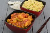 Sweet and Sour Chicken & Egg Fried Rice -