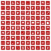 100 Geography Icons Set In Grunge Style Red Color Isolated On White Background Illustration poster