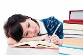 Tired Female Student Reading