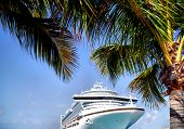 stock photo of cruise ship  - cruise ship docked on island with palm trees travel fun