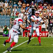 GRAZ, AUSTRIA - JULY 9: QB Tetsuo Takata (#8 Japan) passes the ball at the Football World Championsh