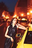 Night City With Princess In Celebrity Style. Fashion And Beauty Of Business Lady. Luxury Woman In Ev poster