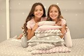 Best Friends Forever. Girls Children On Bed With Cute Pillows. Pajamas Party Concept. Girls Just Wan poster