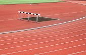 Hurdle and Curve of Race Track in Stadium