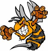 Graphic Vector Image Of A Wasp Or Yellowjacket Mascot With Fighting Hands